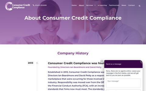 Screenshot of About Page consumercreditcompliance.co.uk - About Consumer Credit Compliance | Consumer Credit Compliance - captured Dec. 15, 2018