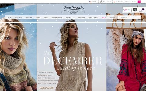 Screenshot of Home Page freepeople.com - Free People - Women's Boho Clothing & Bohemian Fashion - captured Dec. 1, 2015