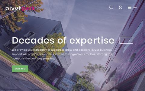 Screenshot of Home Page pivotpark.com - Pivot Park | Life sciences campus for pharmaceutical innovation - captured Oct. 21, 2018