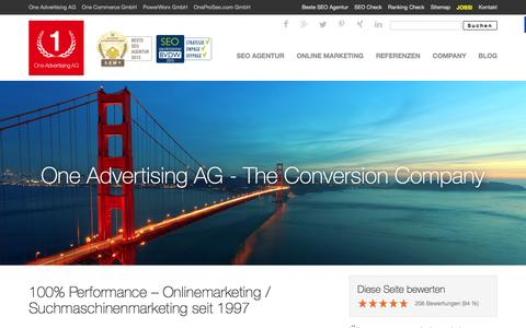 Screenshot of Home Page advertising.de - Advertising > Online Advertising > One Advertising AG - captured Jan. 20, 2016