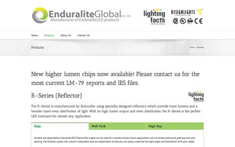 Screenshot of Products Page enduraliteglobal.com - Enduralite Global   –  Products - captured Sept. 30, 2014