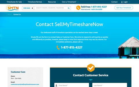 Screenshot of Contact Page sellmytimesharenow.com - Contact Us | SellMyTimeshareNOW.com - captured Dec. 11, 2018