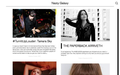 Screenshot of Blog nastygal.com - Nasty Galaxy - The Official Blog of Nasty Gal, The Global Online Style Destination For Taste-Makers and Risk-Takers - captured Oct. 1, 2015