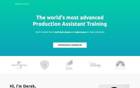 Screenshot of Landing Page zerotwelve.com captured Sept. 24, 2016