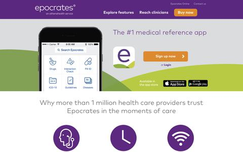 Screenshot of Home Page epocrates.com - Point of Care Medical Applications | Epocrates - captured Nov. 3, 2018