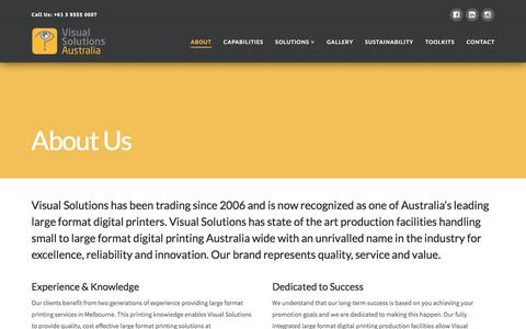 Screenshot of About Page visualsolutions.com.au - About Us » Visual Solutions Australia - captured Nov. 30, 2016