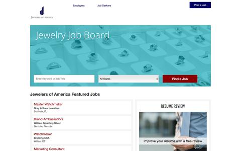 Screenshot of Jobs Page jewelers.org - Jewelers of America Career Center Home - captured Oct. 9, 2017