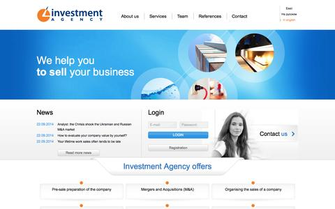 Screenshot of Home Page agency.ee - Investment Agency - captured Oct. 6, 2014