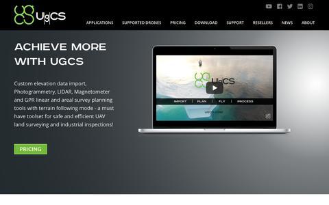 Screenshot of Home Page ugcs.com - Ground Station Software | UgCS PC Mission Planning - captured Oct. 1, 2018