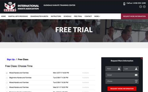 Screenshot of Trial Page ikakarate.com - Free Trial - captured Feb. 27, 2017