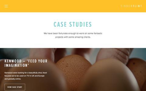 Screenshot of Case Studies Page tinderflint.tv - Case Studies | Tinderflint, Digital Production Agency - captured Sept. 21, 2018