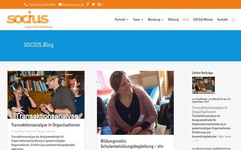Screenshot of Blog socius.de - Blog | SOCIUS Organisationsberatung - captured Sept. 21, 2017