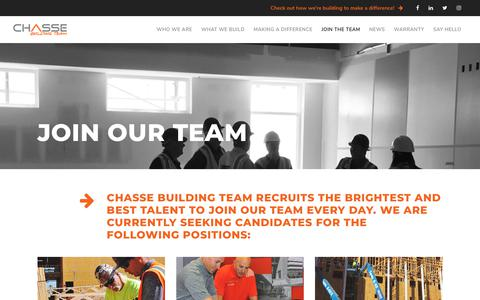 Screenshot of Jobs Page chasse.us - Careers - CHASSE BUILDING TEAM - captured Sept. 24, 2018