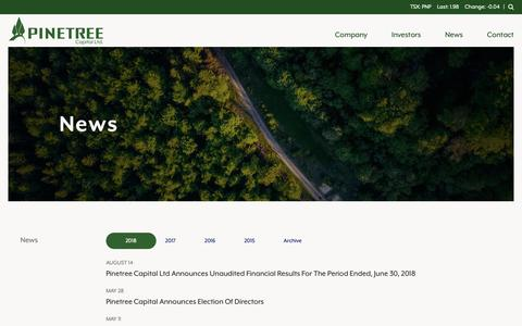 Screenshot of Press Page pinetreecapital.com - Pinetree Capital - News - captured Sept. 28, 2018