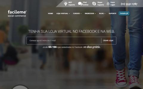 Screenshot of Home Page facileme.com.br - Facíleme Social Commerce tenha sua loja virtual - Facíleme Social Commerce é um aplicativo para loja virtual para venda online no Facebook (social commerce) e na web (e-commerce). - captured Sept. 10, 2016