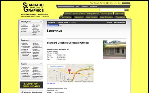 Screenshot of Locations Page standardgraphics.com - Standard Graphics Binding Supplies Locations - captured Oct. 6, 2014