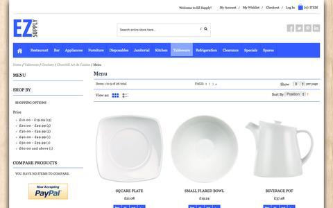 Screenshot of Menu Page ezsupply.co.uk - Menu - Churchill Art de Cuisine - Crockery - Tableware - EZ Supply - captured Oct. 27, 2014