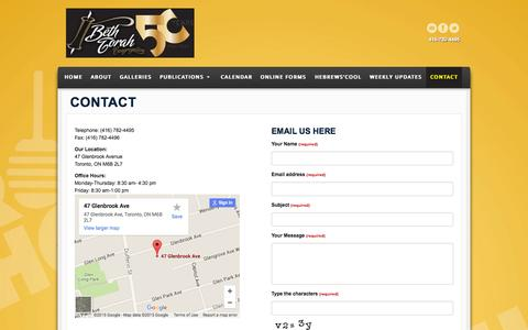 Screenshot of Contact Page bethtorah.ca - Contact - Beth Torah Congregation - Your Family Shul, Located in Toronto, ON - captured Sept. 26, 2015