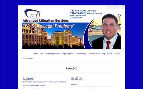 Screenshot of Contact Page advancedlitigationservices.com - Contact Us | Advanced Litigation Services - captured Sept. 30, 2014