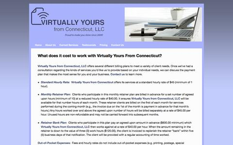 Screenshot of Pricing Page virtuallyyoursfromct.com - What does it cost to work with Virtually Yours From Connecticut? | - captured Oct. 21, 2017