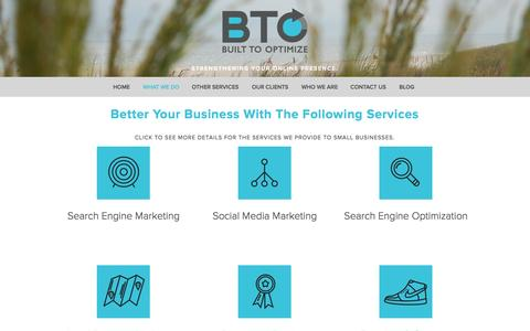 Screenshot of Services Page builttooptimize.com - Our Services — Built To Optimize - captured Sept. 30, 2014