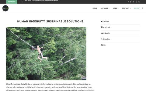 Human Ingenuity. Sustainable Solutions. – CleanTechies