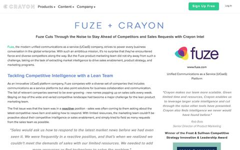 Screenshot of Case Studies Page crayon.co - Fuze Cuts Through the Noise to Stay Ahead of Competitors and Sales Requests with Crayon Intel - captured Oct. 29, 2017