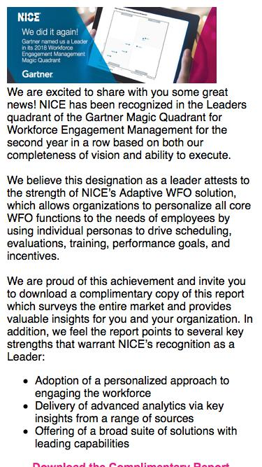 2017 Gartner Magic Quadrant for Workforce Engagement Management