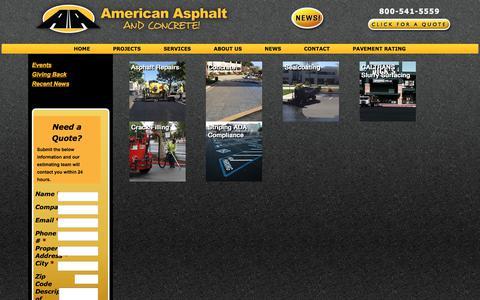 Screenshot of Services Page americanasphalt.com - SERVICES - Asphalt Paving and Repair Contractors | Concrete Company Hayward CA 800-541-5559 Serving Greater San Jose Bay Area, CA - captured Oct. 8, 2017