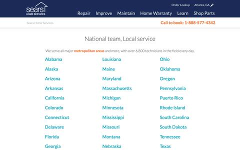 Screenshot of Locations Page searshomeservices.com - All Locations for Home Improvement & Repair - captured Nov. 17, 2018
