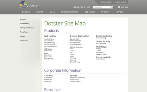 Screenshot of Site Map Page dotster.com - Dotster Site Map - captured March 11, 2017