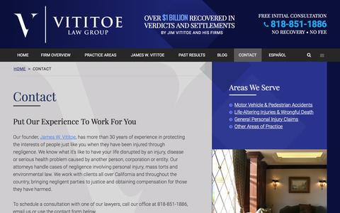 Screenshot of Contact Page vititoelawgroup.com - Contact Vititoe Law Group | Top California Injury Lawyers - captured Feb. 25, 2016
