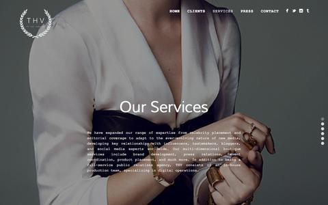 Screenshot of Services Page thvpr.com - Services | THV - captured Nov. 5, 2014