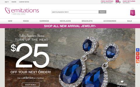 Screenshot of Home Page emitations.com - Cubic Zirconia Jewelry   Sterling Silver Jewelry   Imitation Jewelry - captured Sept. 2, 2016