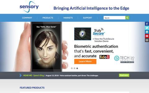 Screenshot of Home Page sensory.com - Home | Sensory - captured Sept. 12, 2018