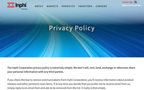 Screenshot of Privacy Page inphi.com - Privacy - Inphi - captured Sept. 28, 2018