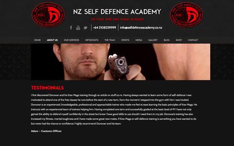 Screenshot of Testimonials Page selfdefenceacademy.co.nz - Testimonials - Self Defence Academy - captured Nov. 4, 2014