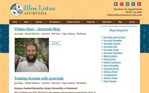 Screenshot of Blog bluelotusayurveda.com - Blog by Vishnu Dass - captured Oct. 6, 2018