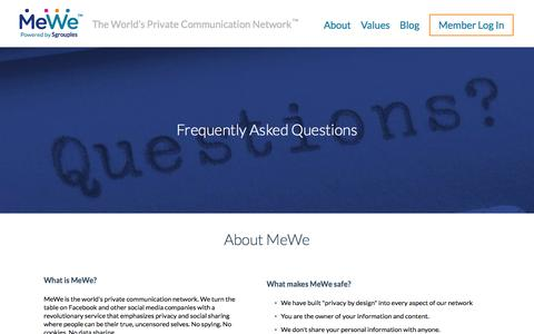 Screenshot of FAQ Page mewe.com - MeWe | Join the Online Privacy Revolution - captured Oct. 29, 2014