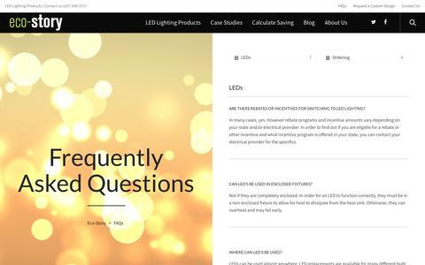Screenshot of FAQ Page eco-story.com - FAQs - Eco-Story - captured July 11, 2016