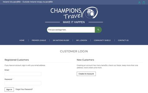 Screenshot of Login Page champions-travel.com - Customer Login - captured July 17, 2018