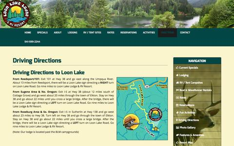 Screenshot of Maps & Directions Page loonlakerv.com - Driving Directions to Loon Lake Lodge and RV Resort - captured Nov. 13, 2016