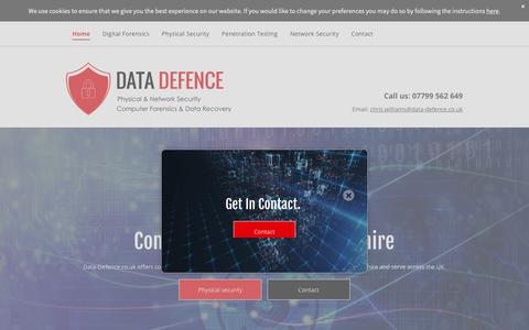Screenshot of Home Page data-defence.co.uk - Computer security with Data-Defence.co.uk - captured Oct. 9, 2018