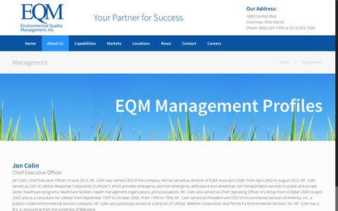 Screenshot of Team Page eqm.com - Management Team | Environmental Quality Management - captured Aug. 13, 2017