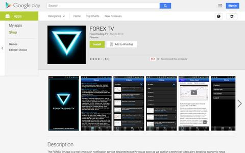 Screenshot of Android App Page google.com - FOREX TV - Android Apps on Google Play - captured Oct. 23, 2014