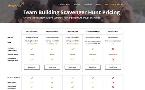 Screenshot of Pricing Page strayboots.com - Team Building Scavenger Hunt Pricing - Strayboots - captured Feb. 21, 2016