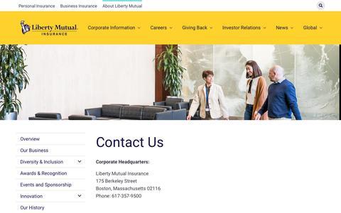 Screenshot of Contact Page libertymutualgroup.com - Contact Us | LMG - captured Dec. 11, 2019