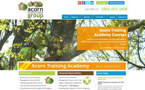 Screenshot of Home Page aemg.co.uk - Tree Surgery, Arboricultural Consultancy and Landscape Management | Acorn Environmental Management Group Redditch - captured Sept. 11, 2015