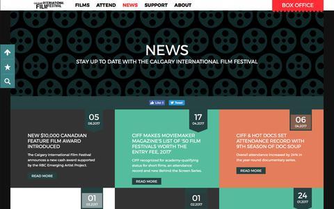 Screenshot of Press Page calgaryfilm.com - News | Calgary International Film Festival - captured July 11, 2017