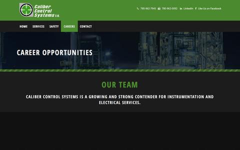 Screenshot of Jobs Page calibercontrolsystems.com - Career Opportunities | Caliber Control Systems - captured Dec. 6, 2015